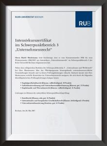 """Intensivkurszertifikat """"Unternehmensrecht"""""""
